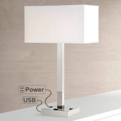 Fabulous Bryce Modern Table Lamp With Hotel Style Usb And Ac Power Outlet In Base Metal Column White Rectangular Shade For Living Room Possini Euro Design Download Free Architecture Designs Embacsunscenecom