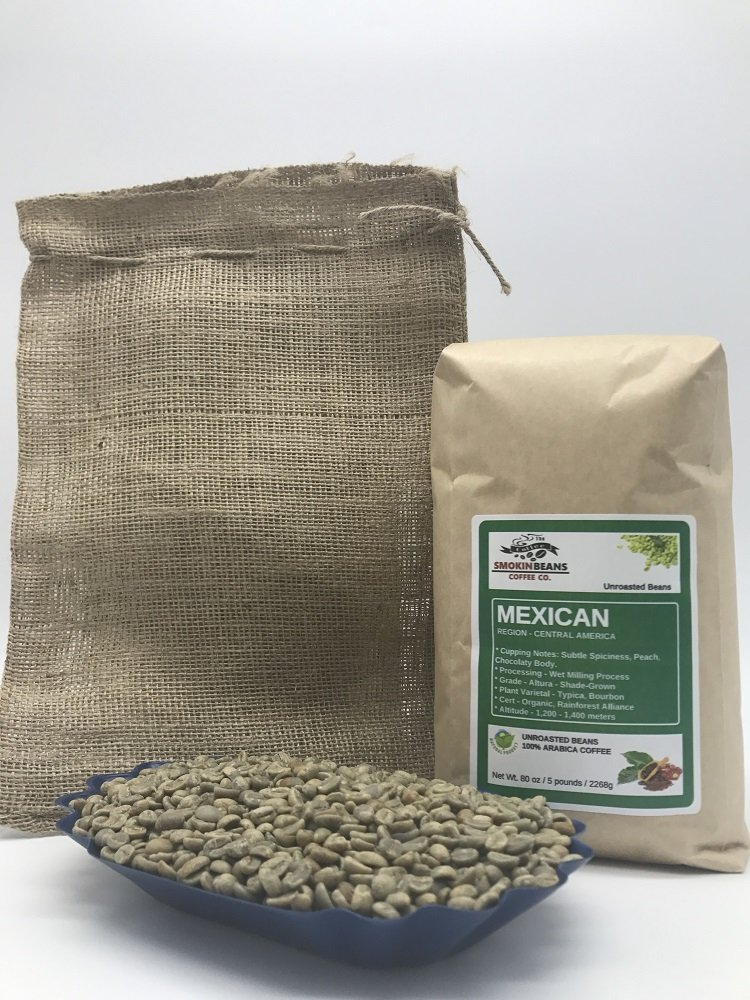 5 pounds  Mexican  Farm: Finca Nextlalpa  Grade-Altura  Spice,Chocolate,BrownSugar,Nuts/Apple  Specialty-Grade Green Unroasted Whole Coffee Beans  for Home Coffee Roasters by Smokin' Beans Coffee Co