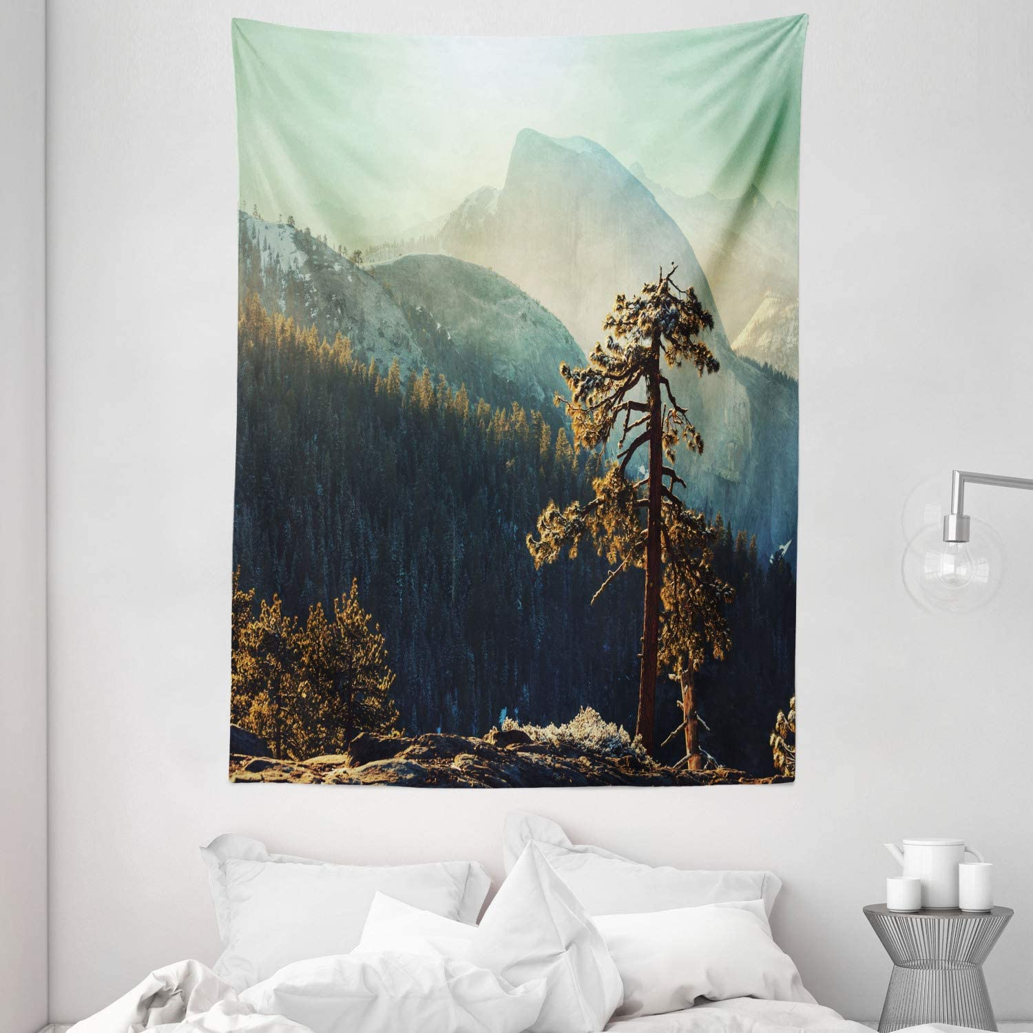 """Ambesonne Yosemite Tapestry, Yosemite National Park from The Top of Mountain Misty Morning Landscapes Photo, Wall Hanging for Bedroom Living Room Dorm, 60"""" X 80"""", Teal Brown"""