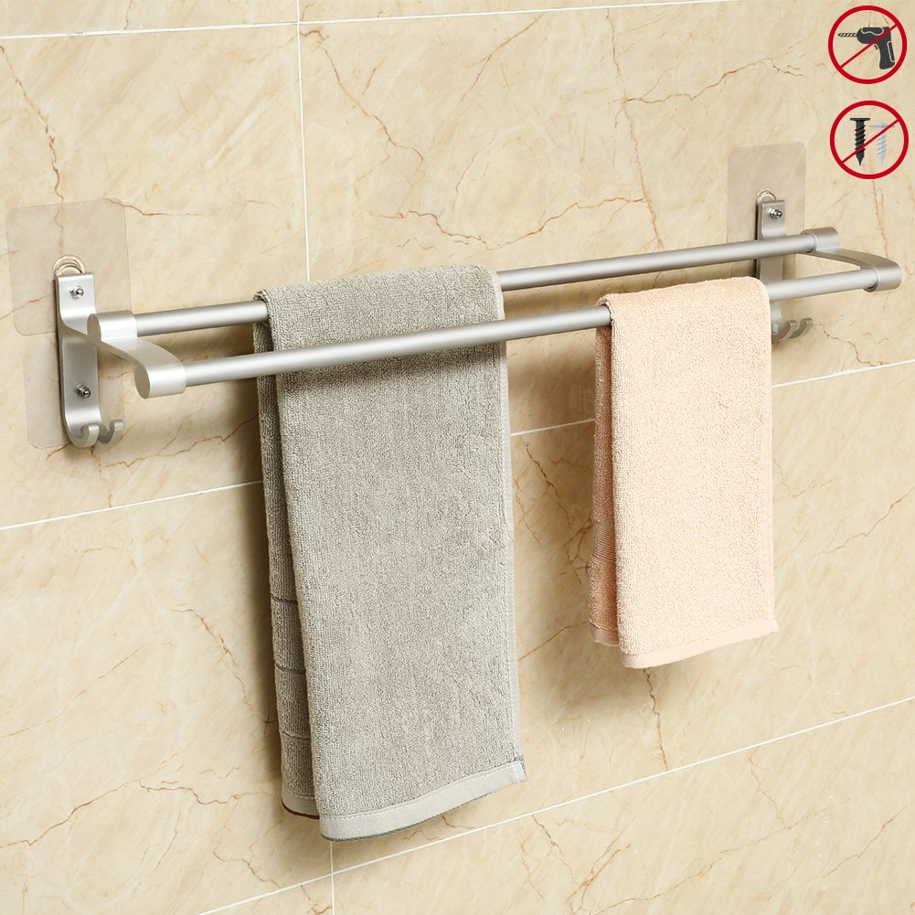 Hawsam No Drilling Double Bathroom Towel Bar Rail, Aluminum Adhesive towel Rack Storage Organizer Holder with 2 Hooks 15.75in