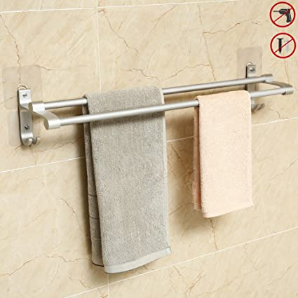 Hawsam Sin Taladrar Doble Toallero de Baño - Barra de Toallas Adhesivo de Aluminio Toalleros de
