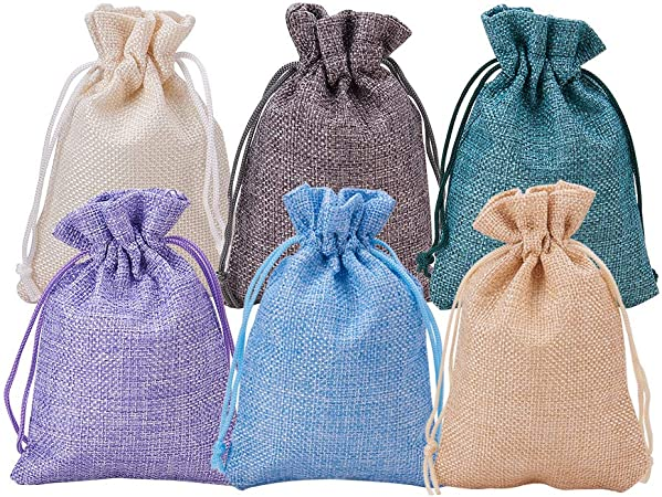 20 Multicoloured Gift Bags with Drawstring Jewelry Pouch Burlap Wedding Sack DIY