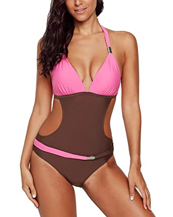 12b634a0cdc14 Ancapelion Women s Deep V One Piece Monokini Bathing Suits Backless Swimwear  Cut Out Strappy Swimsuit Bikini