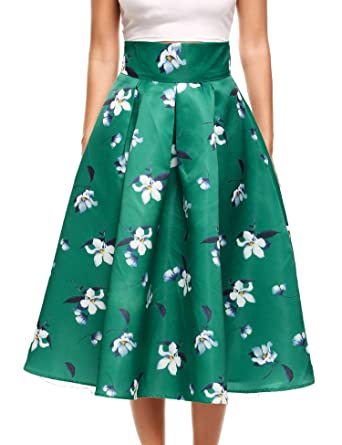 95c9a2c52901 Zeagoo Womens Floral Print High Waisted Casual Aline Street Skirt Party  Midi Skirt (Green,