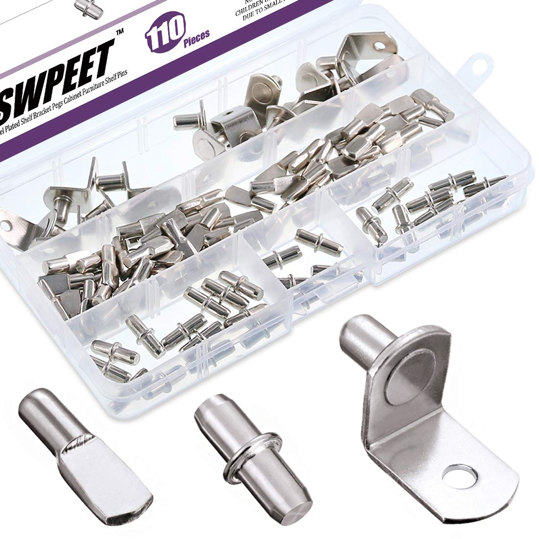 Swpeet 110Pcs 3 Styles Shelf Pins Kit, Top Quality Nickel Plated Shelf Bracket Pegs Cabinet Furniture Shelf Pins Support for Shelf Holes on Cabinets, Entertainment Centers
