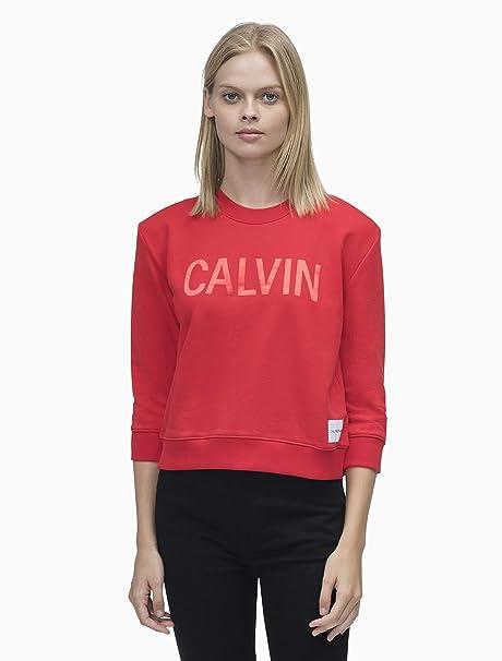 Calvin Klein Sudadera Boxy Satin Rojo Mujer M Rojo: Amazon.es: Ropa y accesorios
