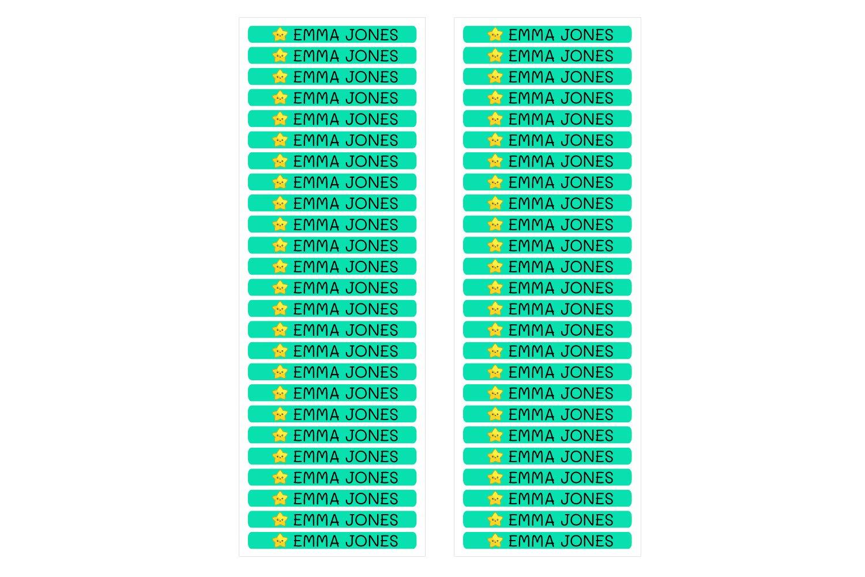 50 personalisierte Minis-Klebeetiketten zur Kennzeichnung von Objekten Abmessungen 4,2 x 0,5 cm Stiften Color Wei/ß Stiften usw