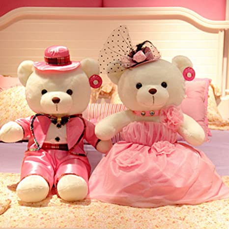 6be8865493 Image Unavailable. Image not available for. Color: YXCSELL A Pair Small  White Cute Soft Plush Stuffed Animals Toys Teddy Bear Couple ...