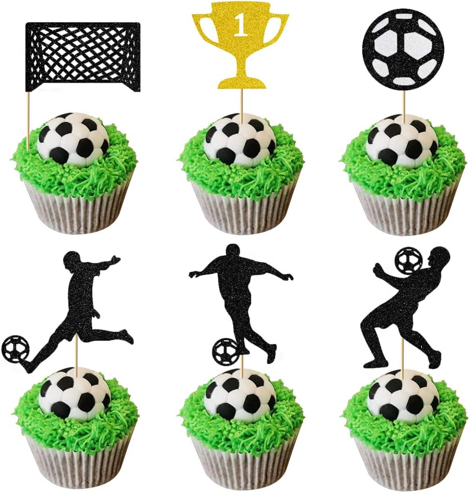 Glorymoment Soccer Cupcake Toppers, Glitter Play Soccer Cake Topper World Cup Soccer Figures Goal for Theme Party Birthday Party Baby Shower Decor Decorations (Set of 24)