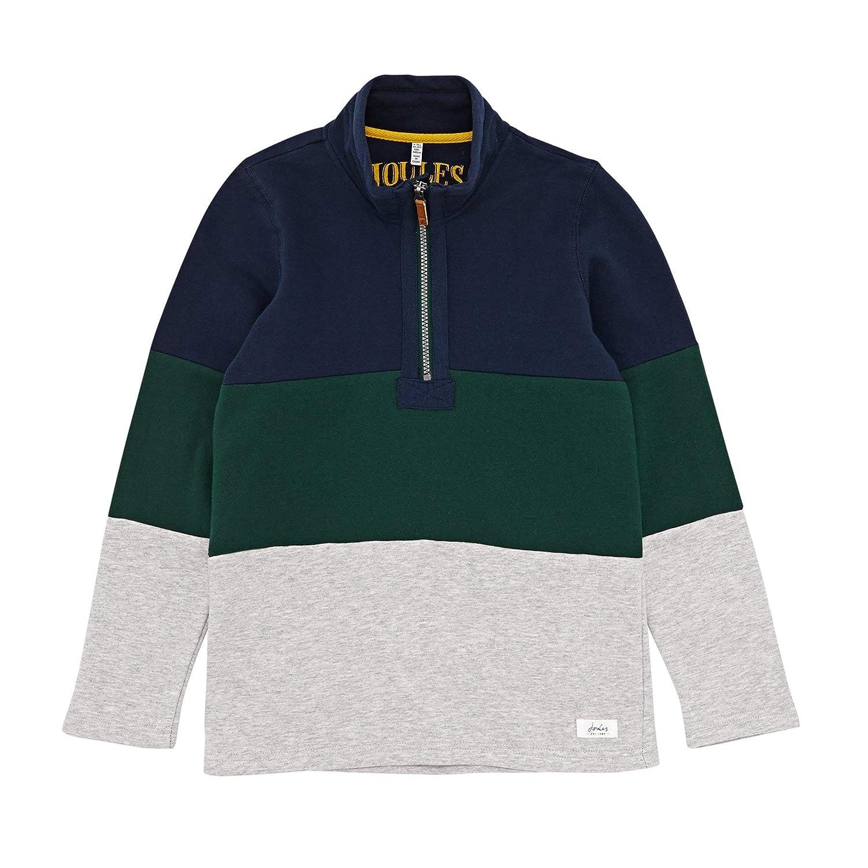 Joules Boys Harlequin Navy Green Grey Striped Dale Half Zip Sweatshirt