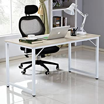 Awesome Soges Computer Desk 55 Pc Desk Office Desk Workstation For Home Office Use Writing Table White Jj W 140 Ca Download Free Architecture Designs Ferenbritishbridgeorg
