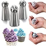 9Snail Cake Decorating Supplies NEW 3pcs/set Sphere Ball Tips Russian Icing Piping Nozzles Tips Pastry Cupcake