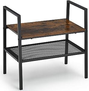 Giantex 2-Tier Storage Shelf Bookcase Stackable Ladder Rack W/ Metal Frame and Mesh Shelf Compact Kitchen Shelf for Living Room, Bedroom, Entryway Kitchen Industrial Style Shoe Rack(1)