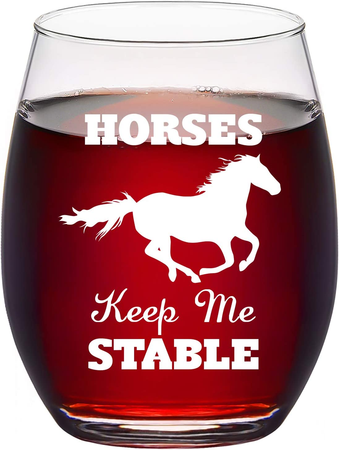 Horses Keep Me Stable Stemless Wine Glass, Funny Horse Gifts for Women Men Mom Dad Horse Lovers Cowgirls Equestrian Decor Christmas Birthday, 15 Oz