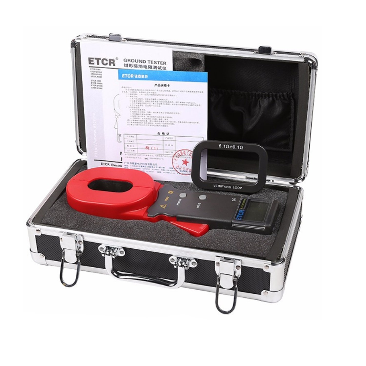 Nuokix Clamp Earth Resistance Tester 0.01-200ohm Digital Ground Resistance Tester ETCR2000A+