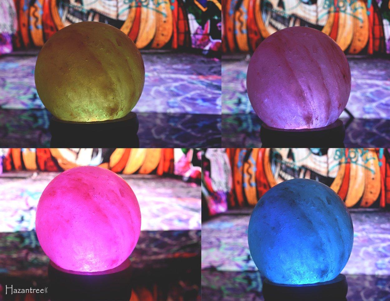 Hazantree LED USB 2 Pack Himalayan Salt Lamp with Wood Base Multi Color Changing Globe
