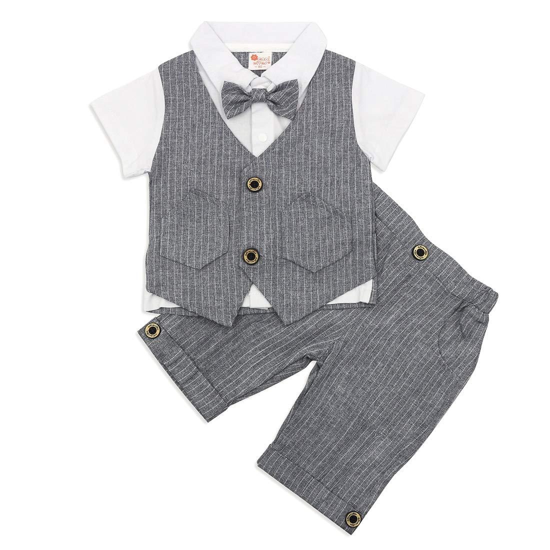 Simplee kids Baby Boy Gentleman Suit Wedding Formal Tuxedo Infant Boy Summer Short Sleeve Jumpsuit Romper and Tie Set