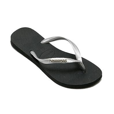 047e89fbe5f308 Havaianas Slim Logo Metallic Black Gold Strap Flip Flops Thongs Brazil  Rubber Sandals Beach