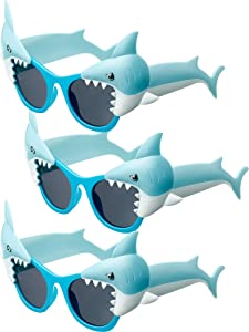 Frienda 3 Pairs Shark Sunglasses Funny Shark Eyeglasses Novelty Costume Sunglasses for Boys Girls Birthday Ocean Theme Party Decoration Photo Props Toys