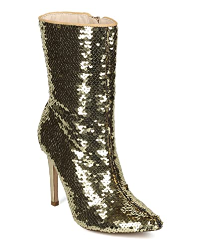 Women Reversible Sequin Pointy Toe Stiletto Tall Boot - HF57 by Cape Robbin Collection