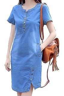 c3051c1cdd Roman Originals Women Shift Denim Dress - Ladies V-Neck Sleeveless ...
