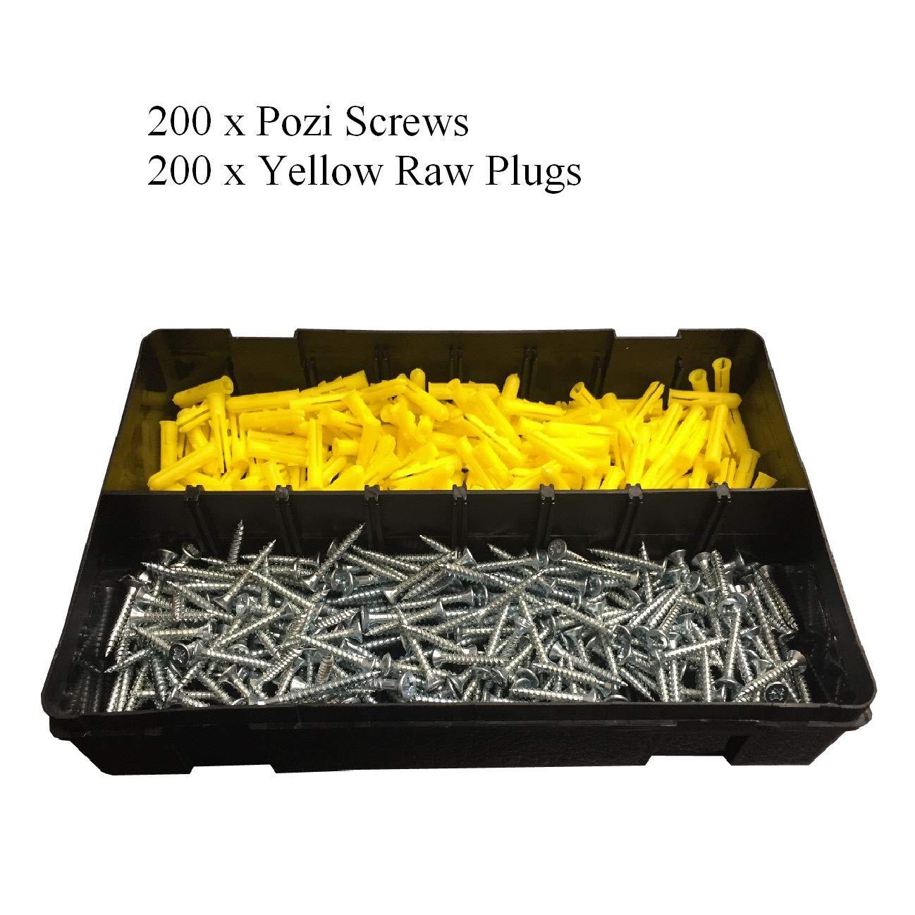 400 x Pozi Screws & Yellow Raw Fixing Plugs, Twin Thread 6 x 1'' Countersunk