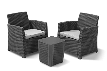 Keter 234078 Corona 3 Piece Set All Weather Outdoor Patio Balcony Furniture  With Cushions, Graphite