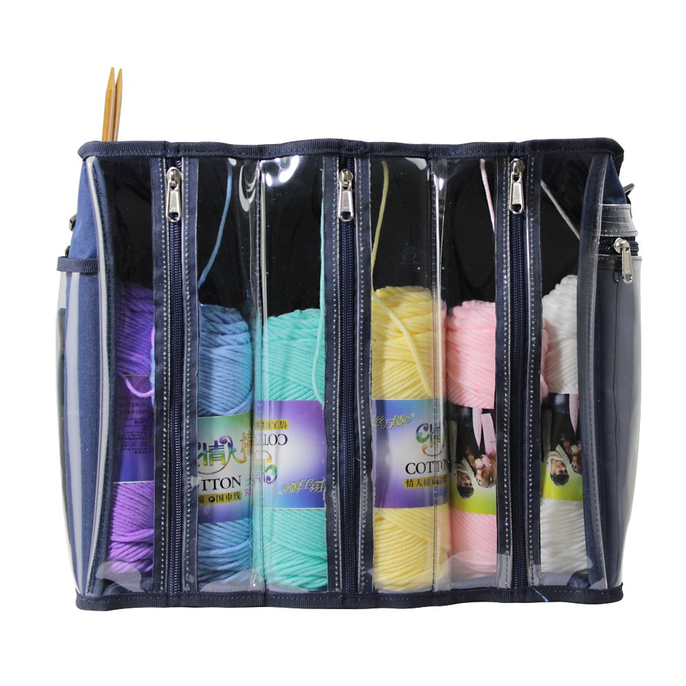 Knitting Bag Yarn Storage Tote Organizer for Carrying Skeins, Knitting Needles and Crochet Hooks Life Glow clear knitting bag