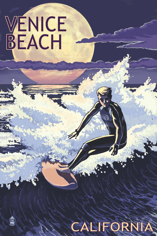 Venice Beach , California – Night Surfer 12 x 18 Art Print LANT-52738-12x18 B00UNNKSTC  12 x 18 Art Print