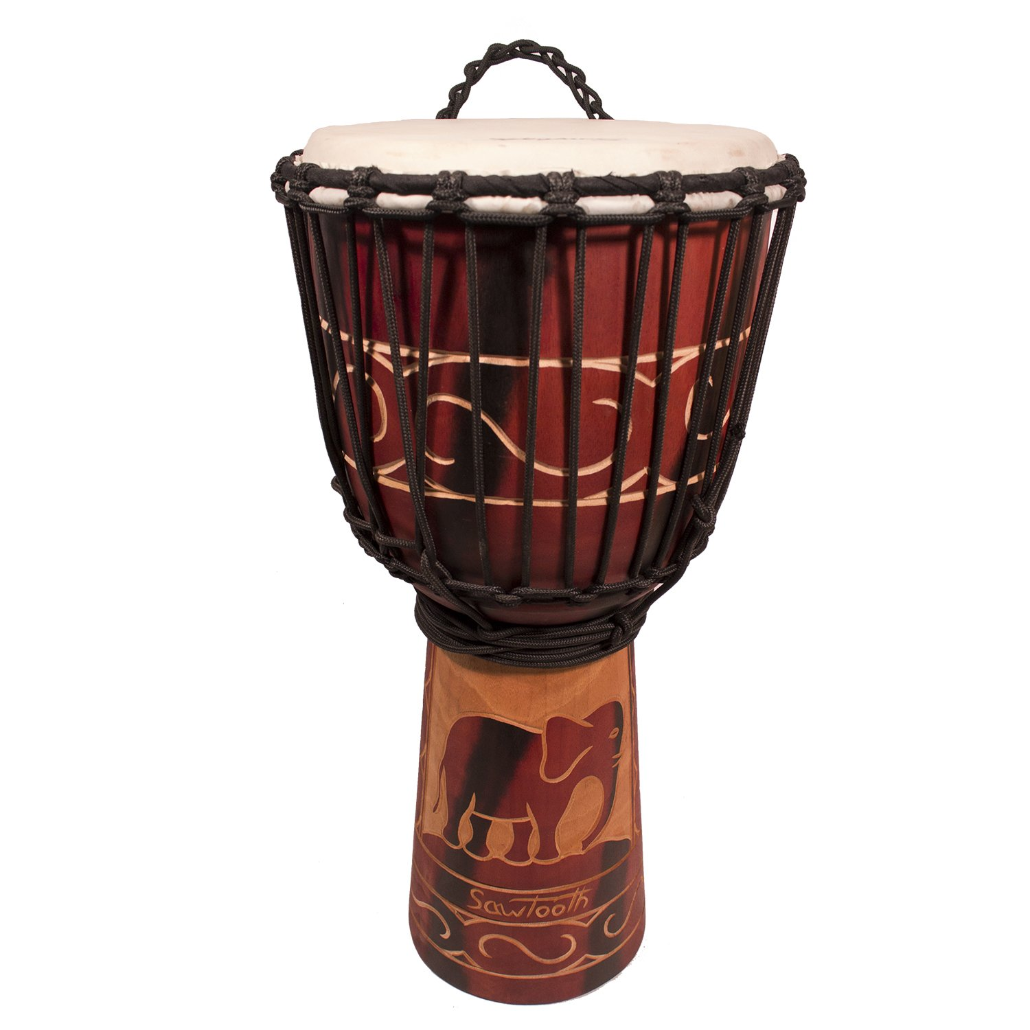 Sawtooth Harmony Series 12'' Hand Carved Elephant Design Rope Djembe
