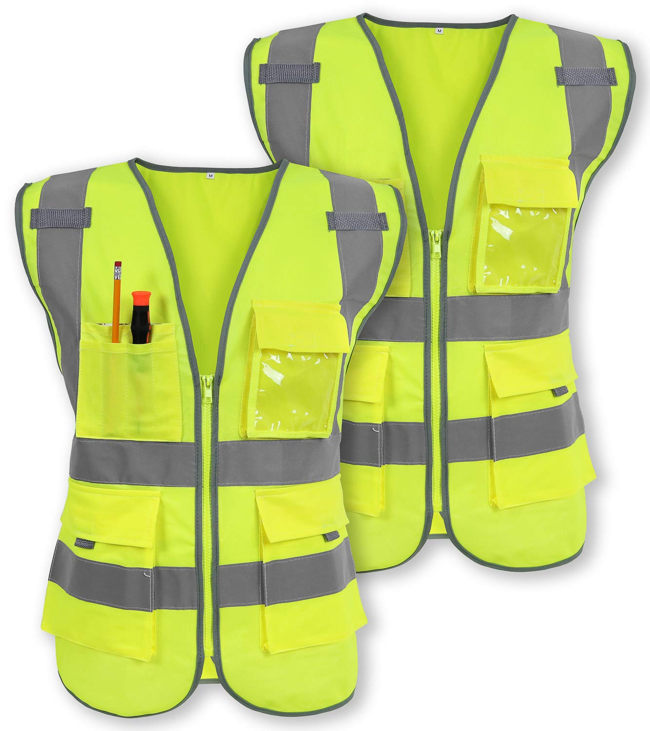 Pack of 2 Safety Vest Reflective Strips Yellow with Front Zipper 9 Pockets, Class 2 High Visibility Meets ANSI/ISEA Standards by Galashield (Large)