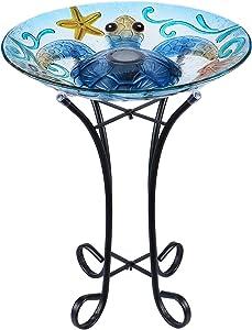 MUMTOP Glass Bird Bath Bird Baths for Outdoors Solar Powered Bird Feeder with Metal Stand for Garden, Yard, Lawn Decor sea Turtle Pattern(Blue, 21.5'X18'')