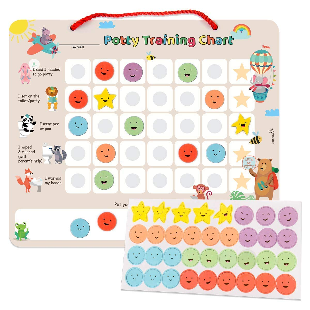 Putska Potty-Training-Magnetic-Reward-Chart für Toddlers - Potty Chart mit Multicolored Emoji & Star Stickers &Ndash; Motivational Toilet Training für Boys & Girls (Animal Theme)