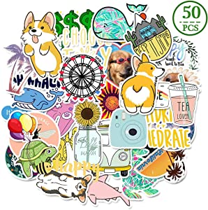 MSOLE 50PCS Cute Waterproof Vsco Stickers for Water Bottles Laptop HydroFlasks Aesthetic Trendy Decals for Mac Computer Phone Guitar for Kids Teen Girls