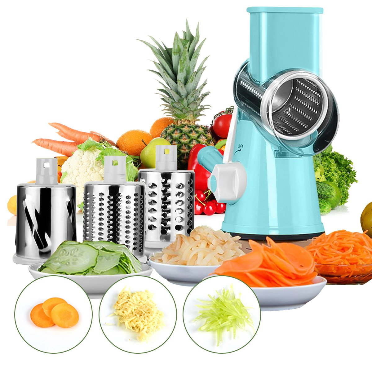 Baban Manual Multifunctional Mandolin/Slicer/Spiraliser/Cutter/Grater Tool for Fruit, Vegetables, Cheese blue Ovemiliya