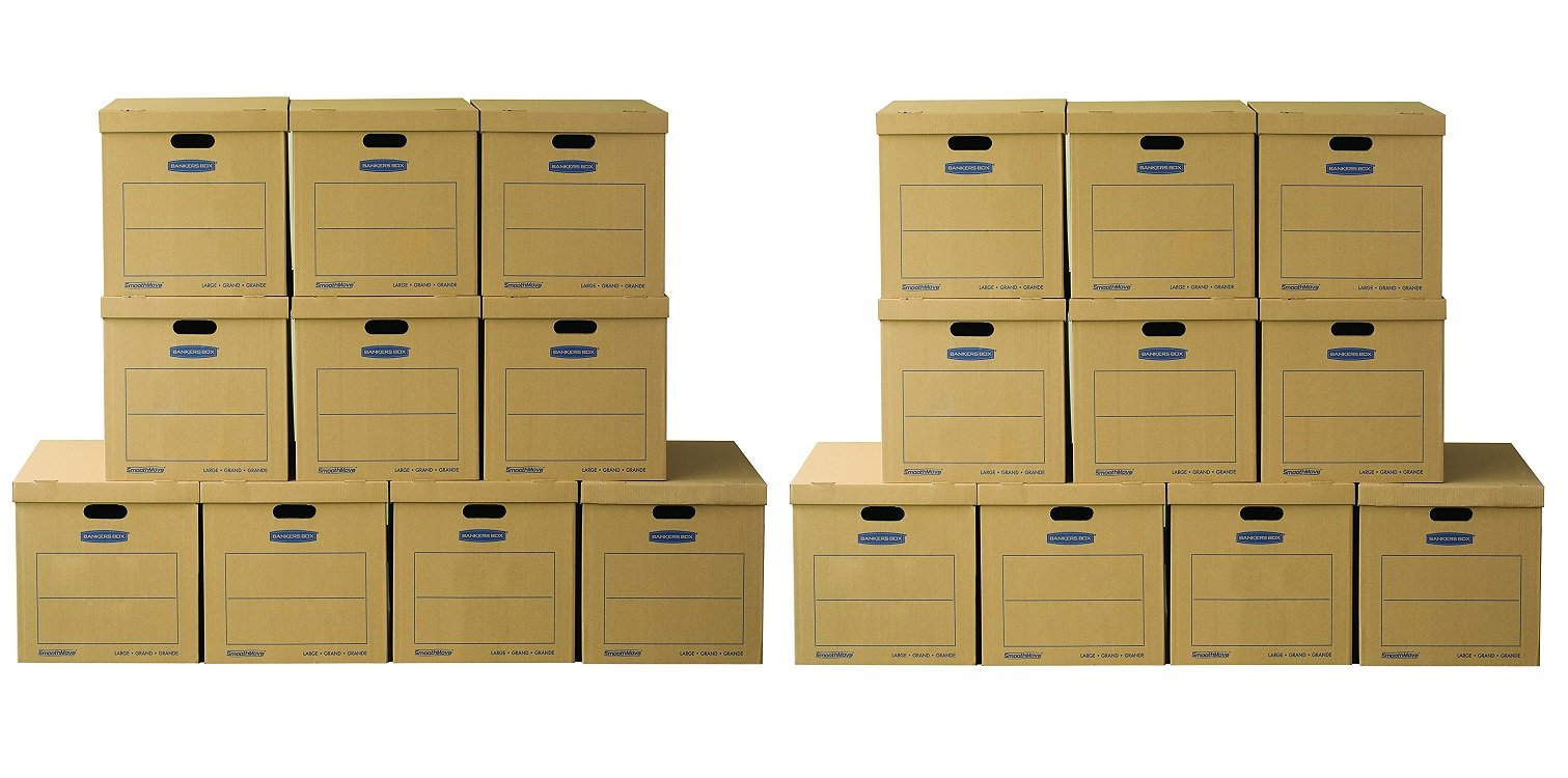 Bankers Box SmoothMove Classic Moving Boxes, Tape-Free Assembly, Easy Carry Handles, Large, 21 x 17 x 17 Inches, (8818201) (Pack of 10)