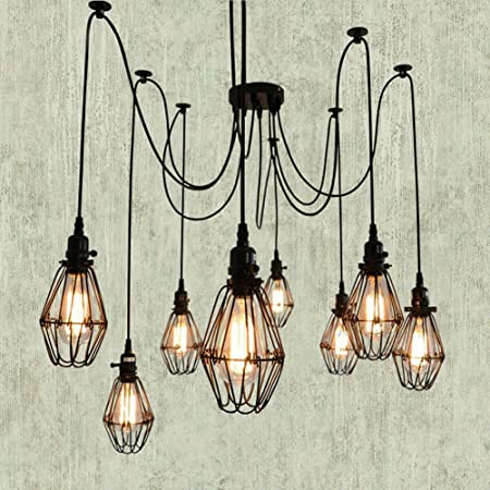 Sanyi 5 lights vintage industrial loft antique cage ceiling pendant sanyi 5 lights vintage industrial loft antique cage ceiling pendant light lamp shade lampshade chandeliers lighting aloadofball Image collections