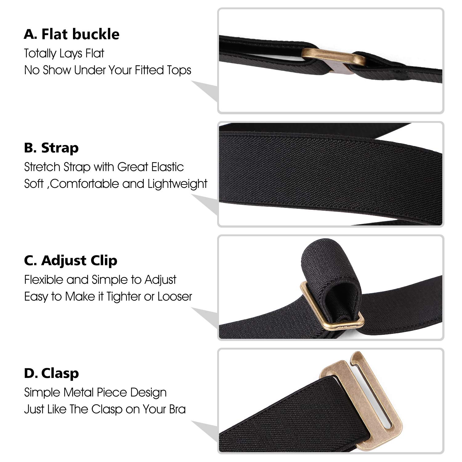 4a60f6f034 No Show Women Stretch Belt Invisible Elastic Web Strap Belt with Flat Buckle  for Jeans Pants larger image