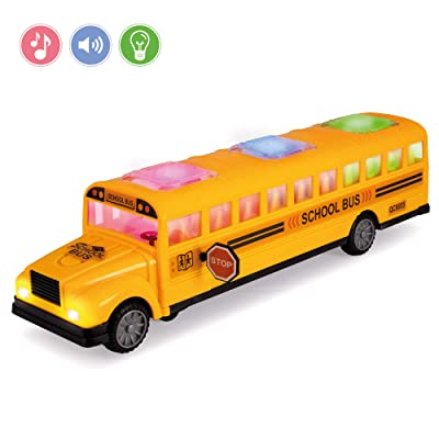 Hoovy School Bus Toys, Yellow Playtime Bus Toy Interactive with Flashing Lights and Sounds, Bump and Go Action, Great Gift for Kids (School Bus): Toys & Games [5Bkhe0801480]