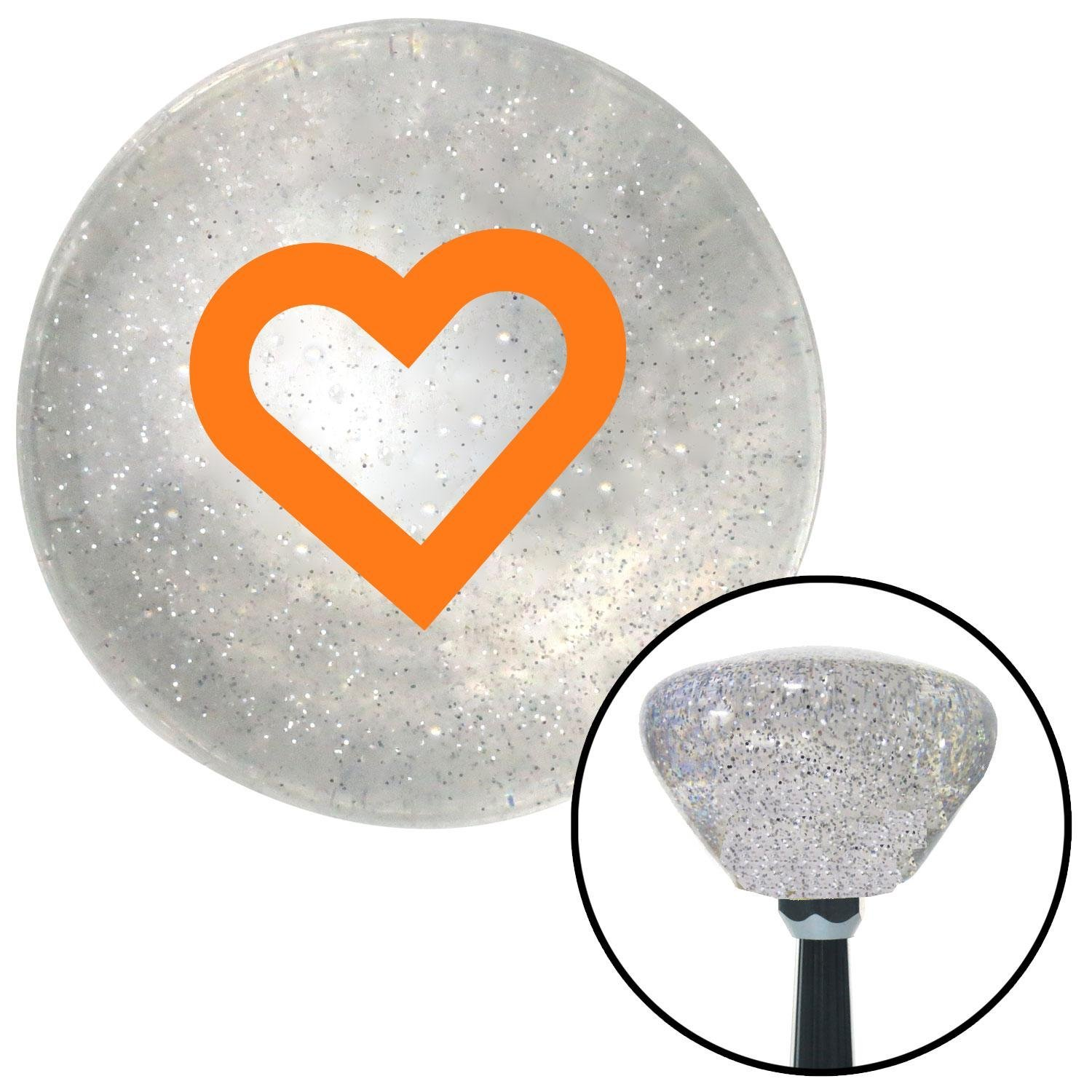 Orange Fat Outlined Heart American Shifter 160977 Clear Retro Metal Flake Shift Knob with M16 x 1.5 Insert