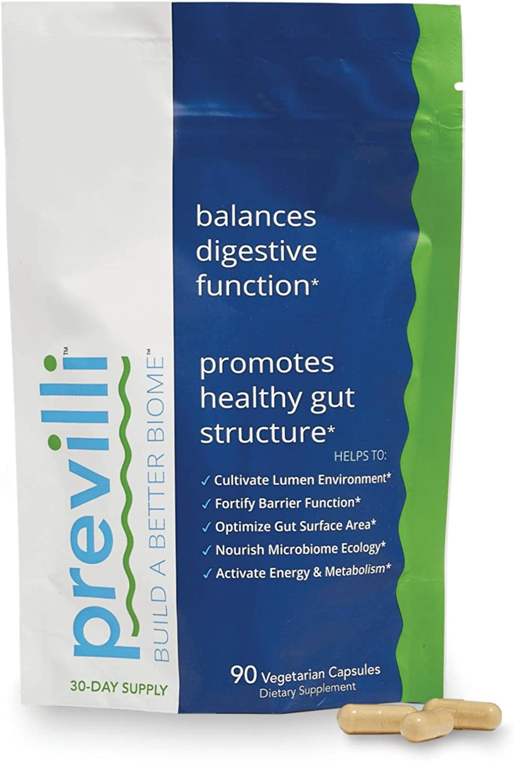 Previlli Dietary Supplement, Beyond Probiotics and Prebiotics for Women and Men, Gut Health Supplements, Supports Healthy Gut Structure and Good Bacteria (30-Day Supply)