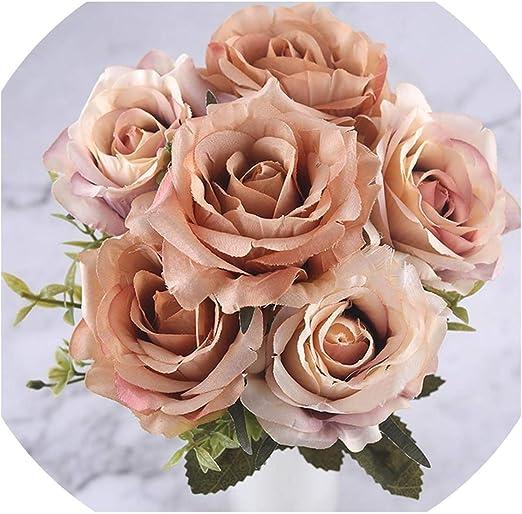 Amazon Com 6 Heads White Rose Artificial Flowers Silk For Wedding