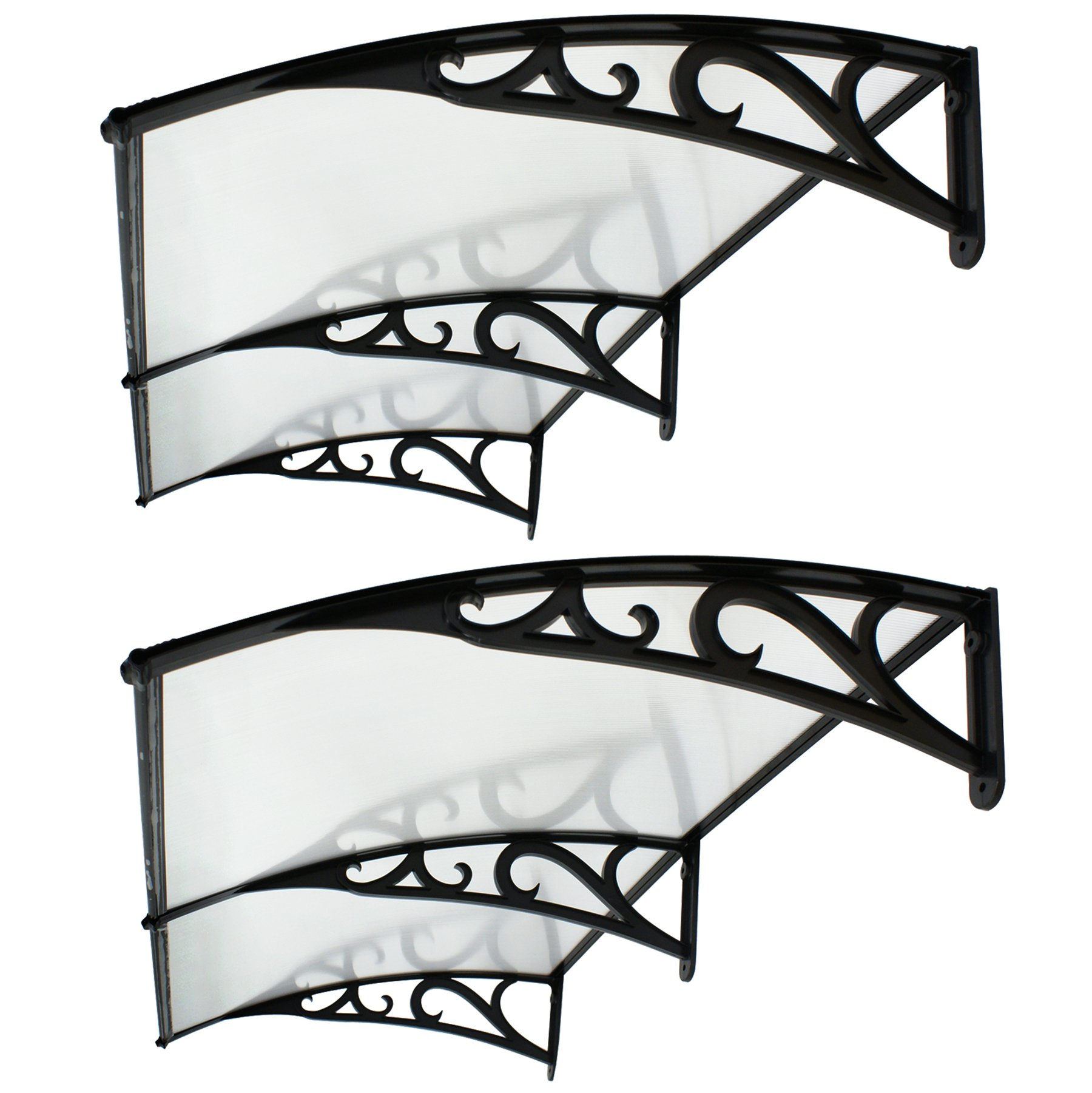 F2C Set of 2 1mx2m DIY Outdoor Polycarbonate Garden Front Door 40''x 80'' Window Awning Patio Cover Canopy UV Rain Snow Protection (2PCS Frame of the pattern)