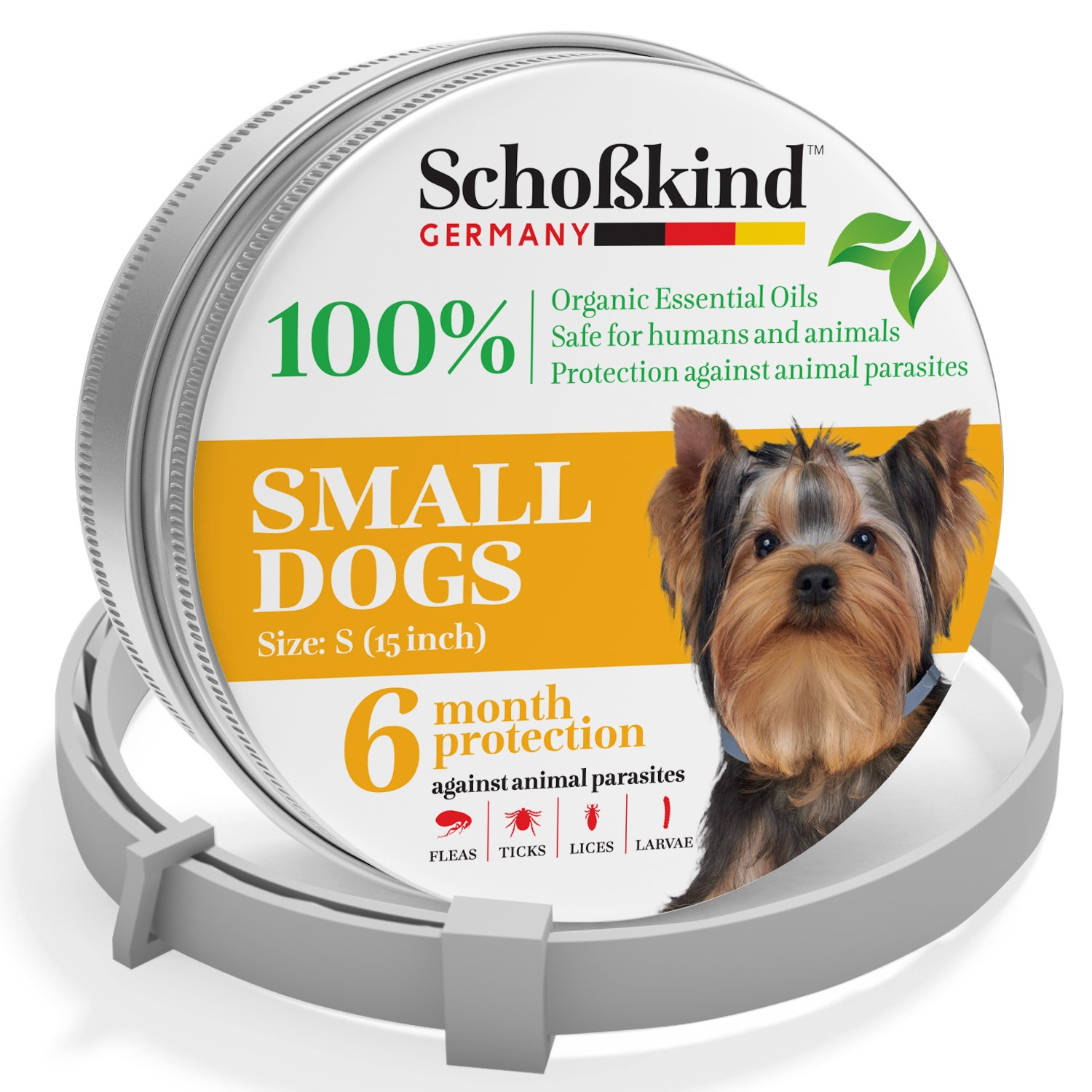 Organic Way Flea and Tick Collar for Small Dogs - Made for Germany - 100% Safe & Eco-Friendly - Based on Natural Oils - Flea and Tick Prevention Pets - 6-Month Protection - Waterproof Dog Flea Collar