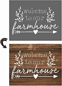 vizuzi Welcome to Our Farmhouse Sign Stencils - Home Decor Rustic Farmhouse Inspirational Template for Painting Spraying Wood Floors Furniture Paper Window Glass Door Wall Sign Crafts