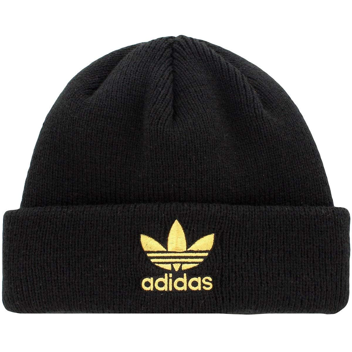59e332343f8 Amazon.com  Adidas Womens Originals Trefoil Ii Knit Beanie Black Gold …   Clothing