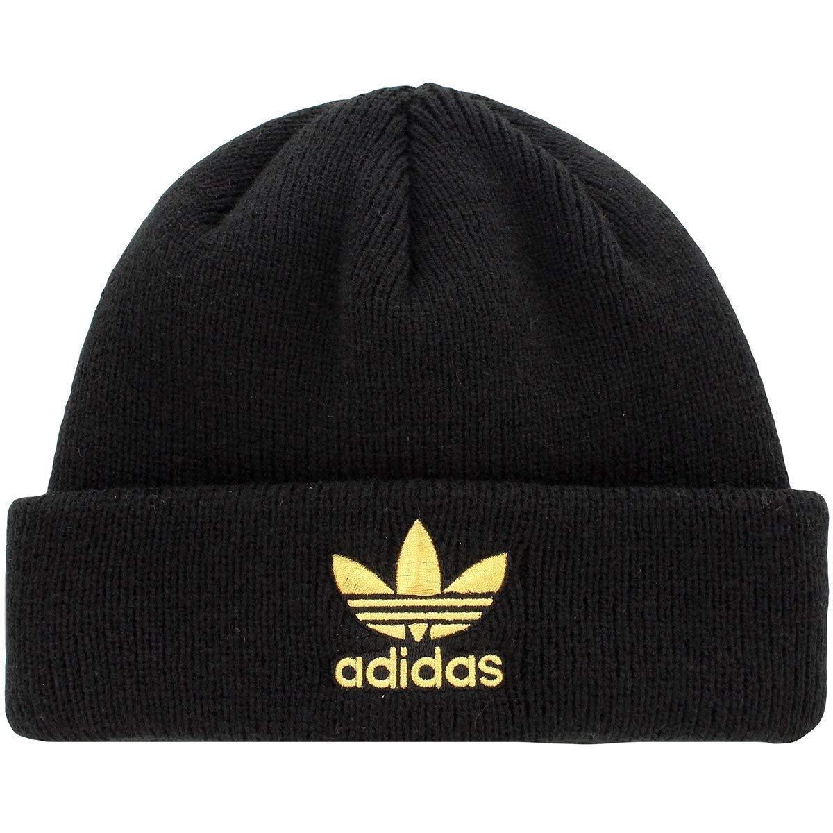 c9086ef2cb6877 Amazon.com: Adidas Womens Originals Trefoil Ii Knit Beanie Black/Gold …:  Clothing
