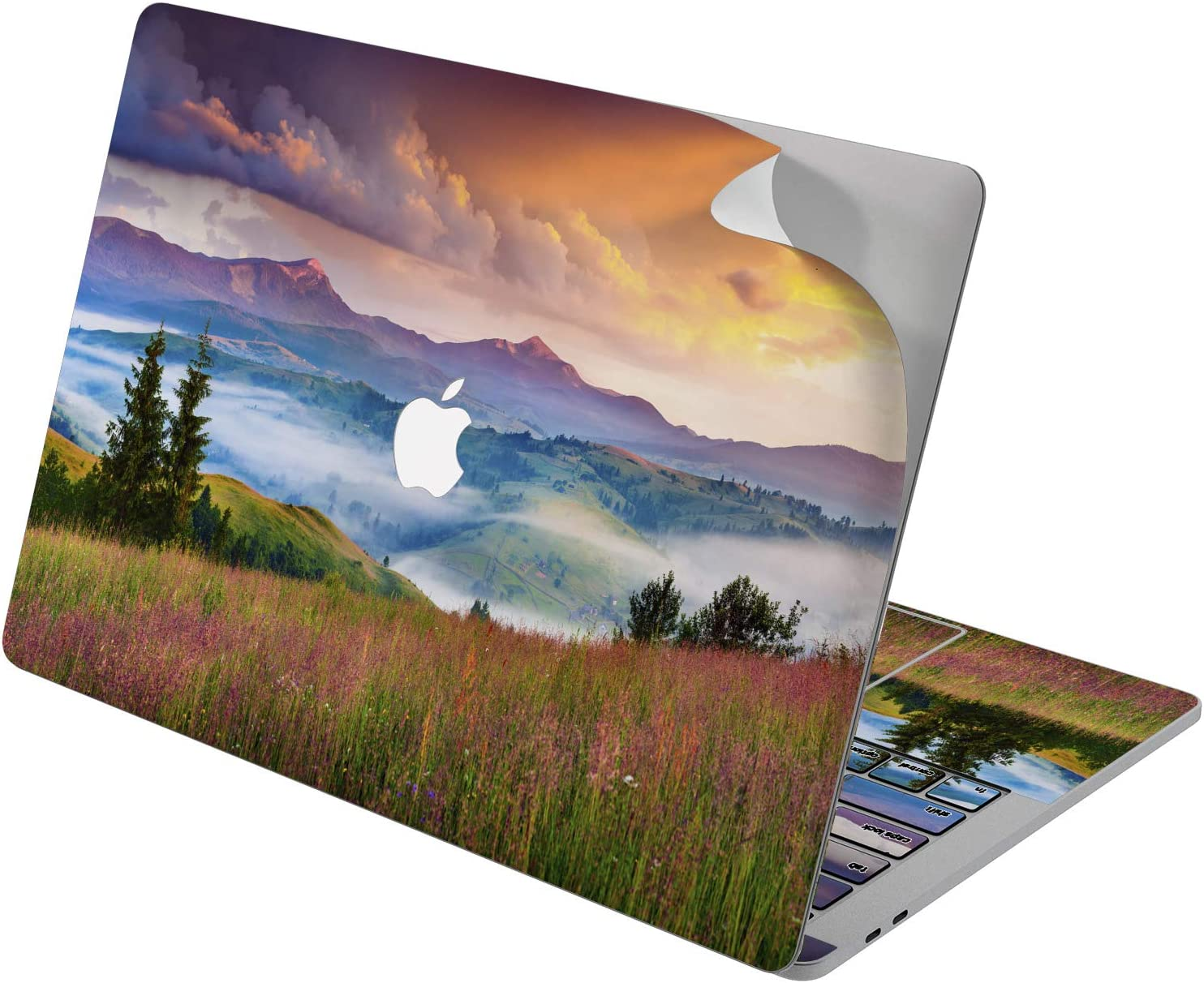 "Cavka Vinyl Decal Skin for Apple MacBook Pro 13"" 2019 15"" 2018 Air 13"" 2020 Retina 2015 Mac 11"" Mac 12"" Trendy Cover Landscape Protective Nature Sunset Valley Sticker Print Design Countryside Laptop"