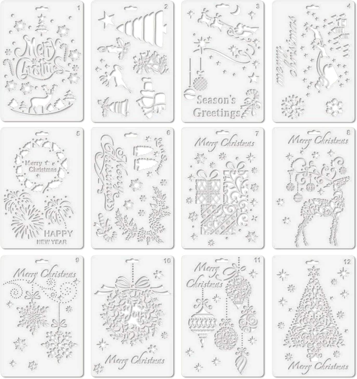 Christmas Stencils Elisona 12PCS Assorted Style Merry Christmas Painting Drawing Stencils Templates for Pigment School Project Scrapbooking DIY Craft Album