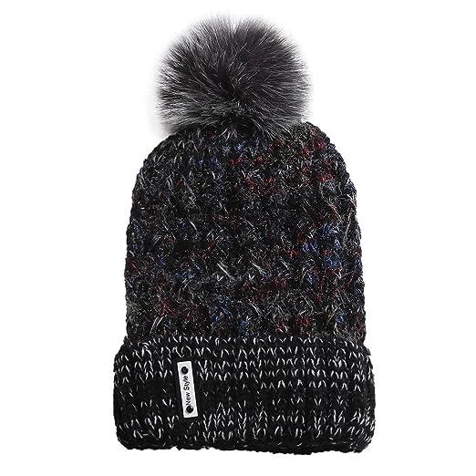 TWGONE Knit Caps for Women Wool Cosy Warm Beanie Winter Hat Ski Crochet Cap  Pom Pom de05913015b